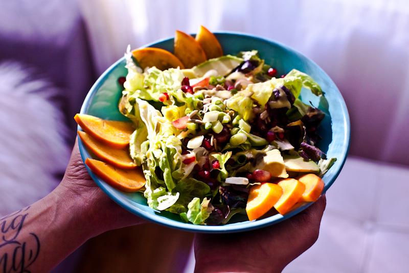 Pomegranate Persimmon Salad with Creamy Champagne Dressing | Raw Vegan Salad