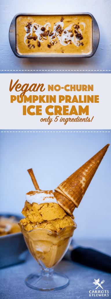 AMAZING Vegan Pumpkin Spice Ice Cream with only 5 Ingredients! NO-CHURN, so easy, kid-friendly dessert recipe