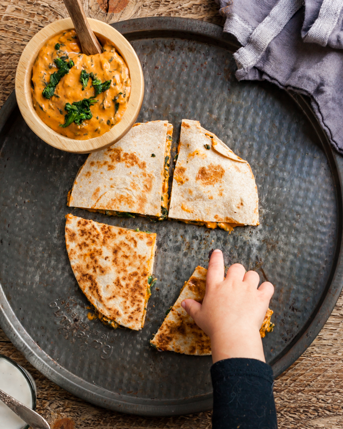 Hemp Cheese + Spinach Quesadillas | a plant-based superfood recipe that's kid-friendly and easy to make!