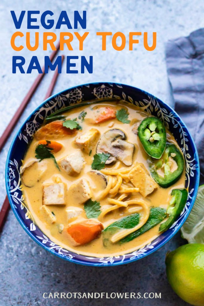 Vegan Tofu Curry Ramen with veggies | Creamy kid-friendly recipe