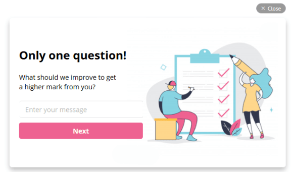 Pop-up to collect feedback