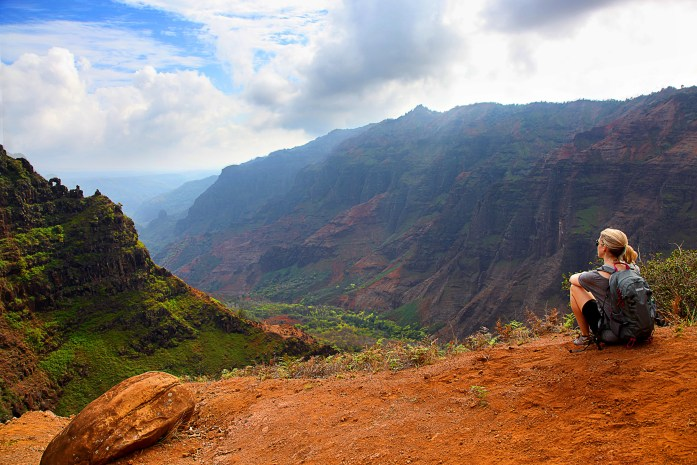 View of canyons from a cliff edge near Waipoo Falls, Kauai