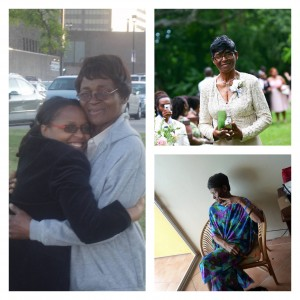 3 picture collage of woman and one with two women hugging