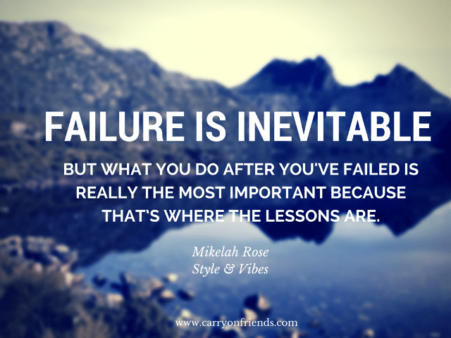mountains with Failure quote by Mikelah Rose of Style & Vibes