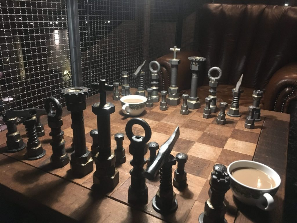 steam hotel style chess, industrial metal chess pieces