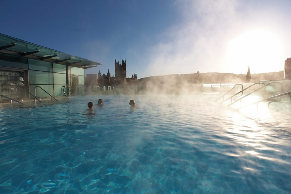 Thermae Bath Spa Rooftop pool with sunlight
