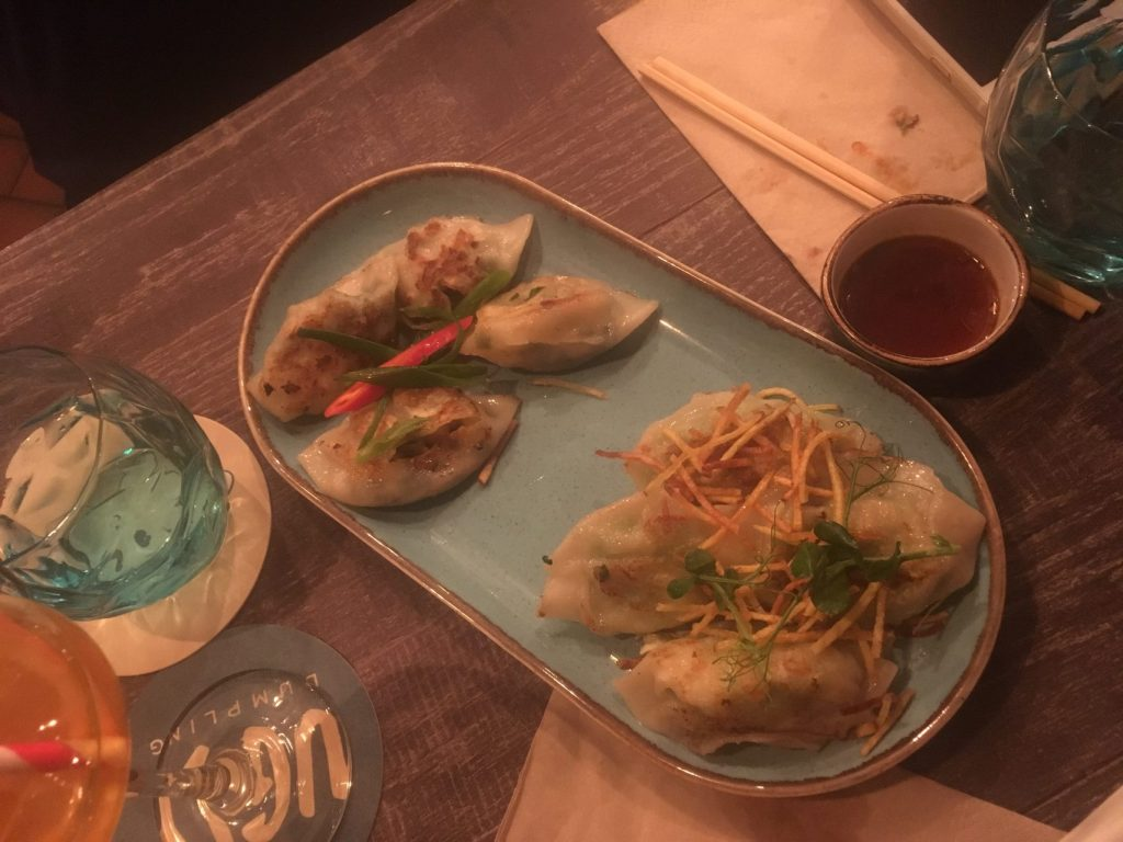 blue plate eight dumpling selection - seafood chouces at ugly dumpling london