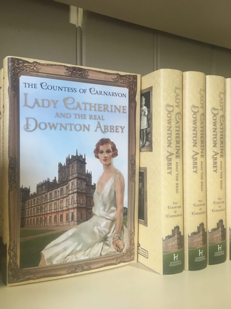 Lady catherine and real life at Downton Abbey book cover on shelf