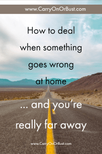 image of a tarmac road with vanishing point on the horizon - text reading 'how to deal when something goes wrong and youre really far away' over the top