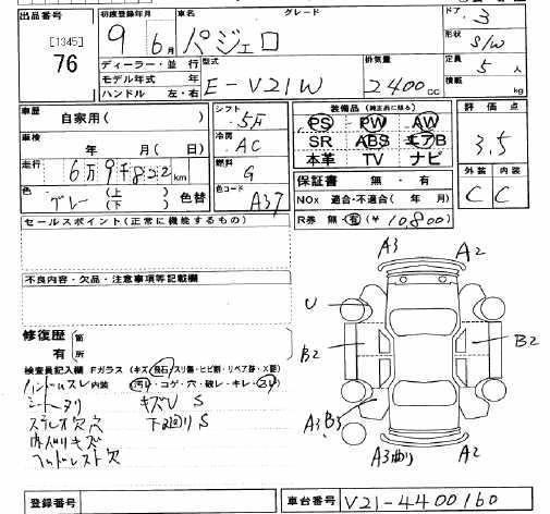 1997 Mitsubishi Pajero specs, Engine size 2.4, Fuel type