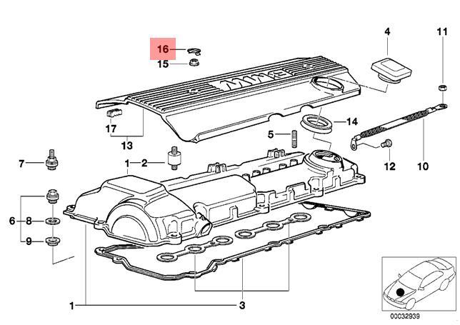 Genuine BMW E36 Z3 Cabrio Cover Trim Cap For Engine Coil