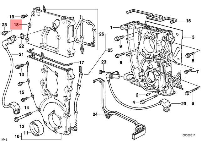 Genuine BMW E34 E36 Z3 Cabrio Compact Timing Case Cover