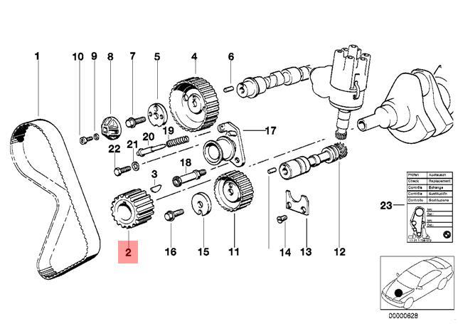 Genuine BMW E21 E28 E30 E34 Z1 Cabrio Tooth Belt Gear