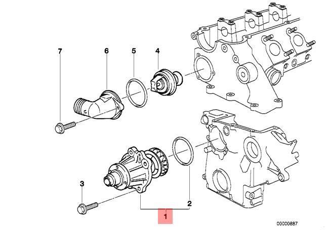 Genuine BMW E34 E36 E38 E39 Compact Sedan Wagon Water Pump