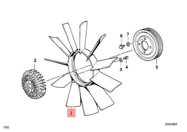 Genuine BMW E39 Estate Radiator Cooling Fan 11 Blade 410mm