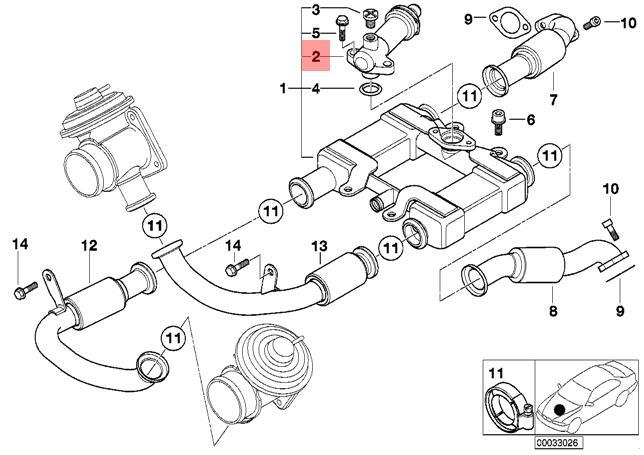 Genuine BMW E38 E39 E46 E65 Sedan Thermostat for EGR