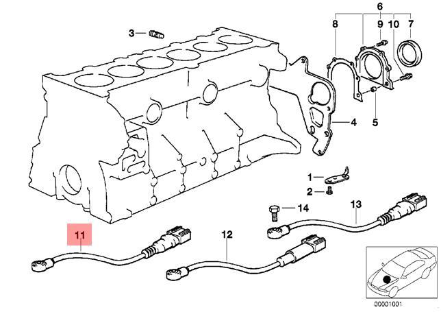 Genuine BMW E34 E36 Z3 Cabrio Knock Detonation Ping Sensor