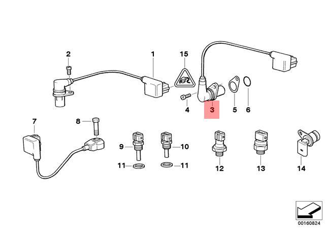Genuine BMW E31 E38 E39 Coupe Camshaft Position Sensor CPS