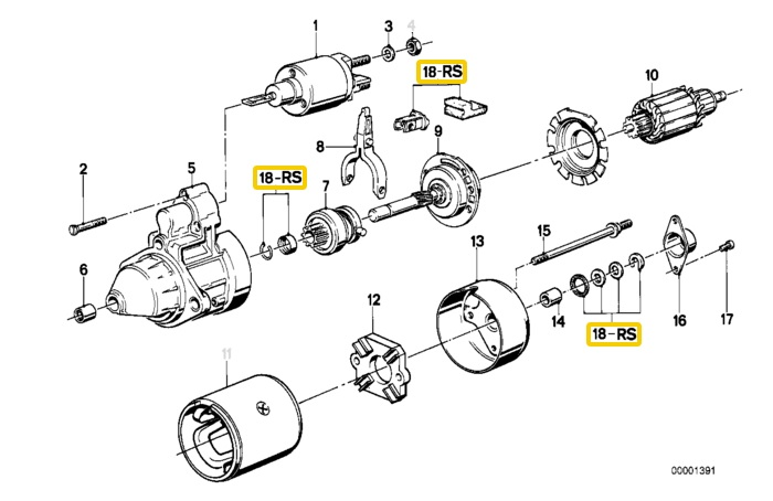 Genuine BMW E24 E28 E30 E32 E34 E36 Starter Motor Repair