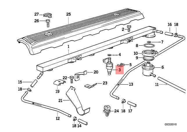 Genuine BMW E34 E36 Cabrio Coupe Sedan Wagon Fuel Injector