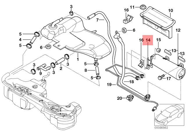 Genuine BMW E46 Cabrio Activated Carbon Container Bracket