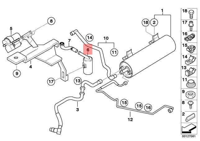Genuine BMW E46 Coupe Sedan Wagon Fuel Vapor Dust Filter