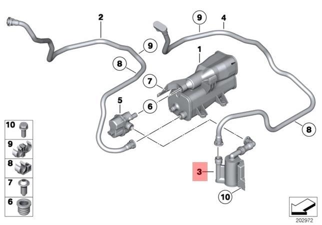Genuine BMW E89 Roadster Fuel Vapor Dust Filter OEM