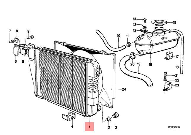 Genuine BMW E12 Sedan Engine Cooling Radiator OEM
