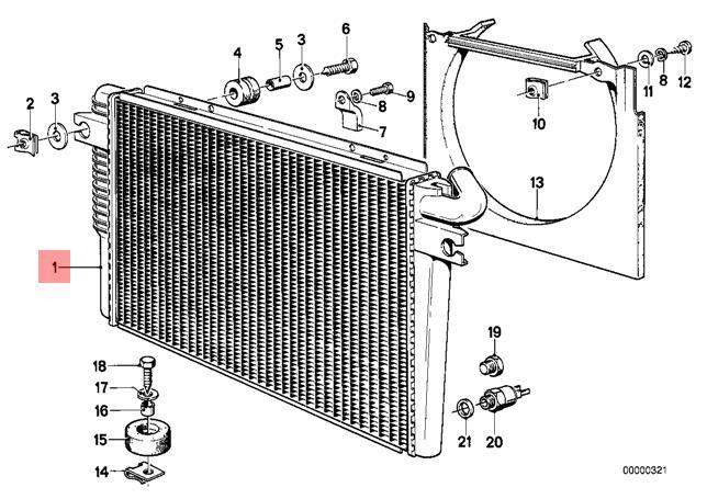 Genuine BMW E23 Sedan Manual M30 Engine Cooling Radiator