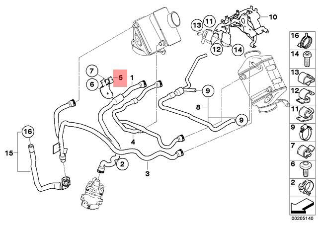Genuine BMW E70 E71 X5 X6 M SAC SUV Coolant Hose Bracket