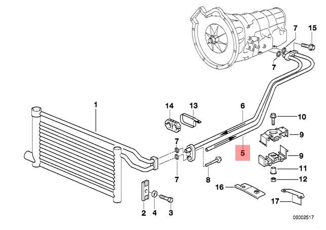 Genuine BMW E39 Transmission Oil Cooler Hose Pipe Outlet