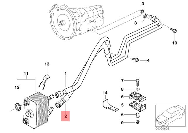 Genuine BMW E53 X5 Heat Exchanger Oil Cooler Hose Pipe
