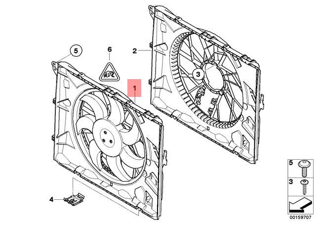 Genuine BMW E81 E82 E87 Radiator Condenser Cooling Fan