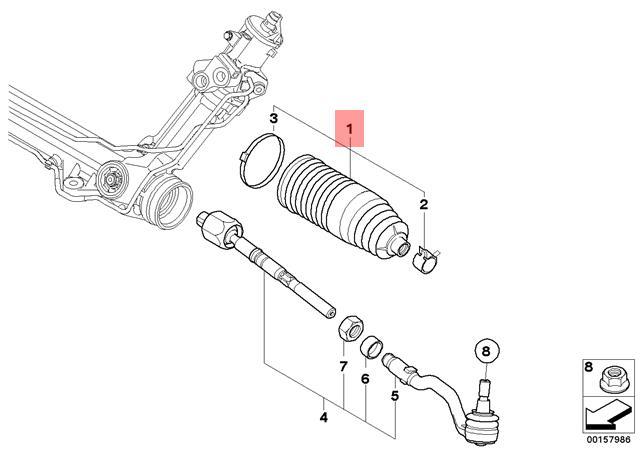 Genuine BMW X5 E70 F15 X6 E71 Steering Rack Boot Repair