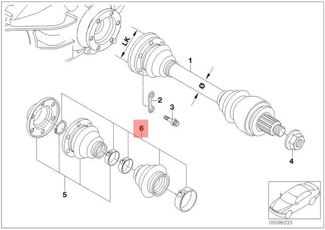 Genuine BMW E38 Rear Axle Outer Drive Shaft CV Boot Repair