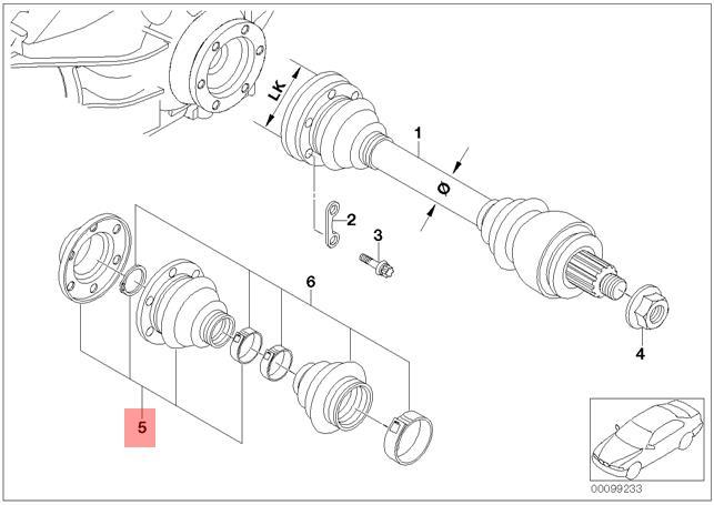 Genuine BMW E60 Rear Axle Inner Drive Shaft CV Boot Repair