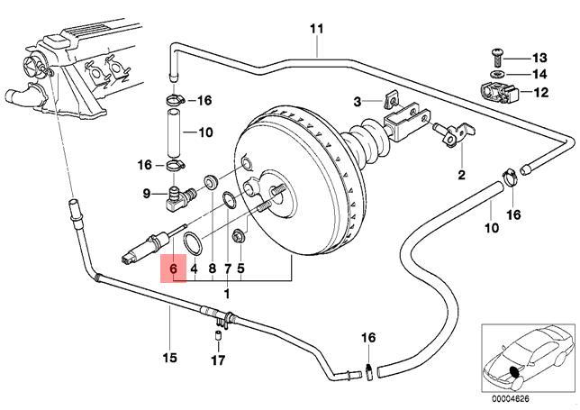 Genuine BMW E36 Brake Pedal Travel Booster Sensor Repair