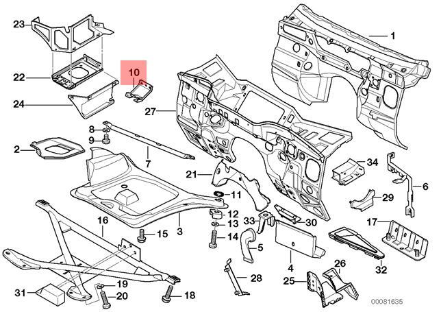 Genuine BMW E36 M3 Coolant Expansion Tank Holding Bracket