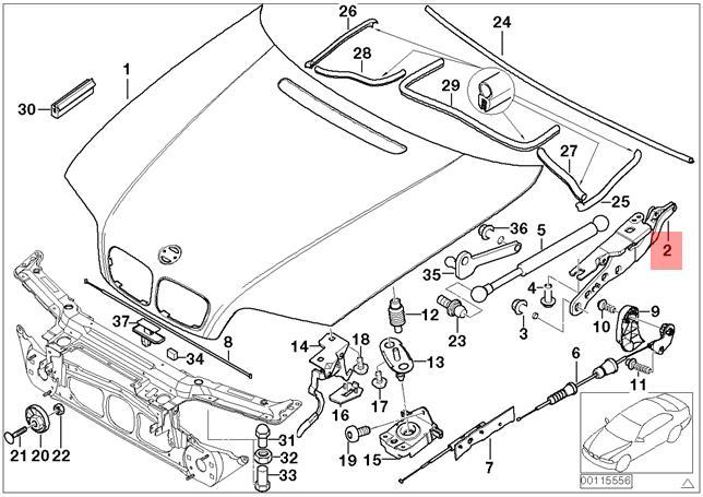 Genuine BMW E46 Cabrio Compact Coupe Engine Hood Hinge