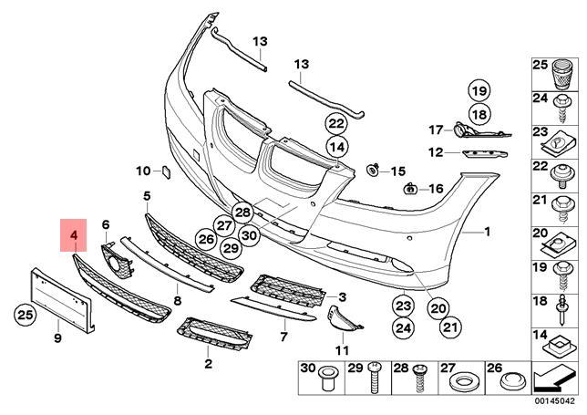 Genuine BMW 3 Series E90 E91 Front Bumper Center Open