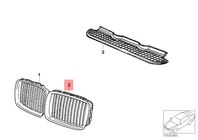 Genuine BMW 3 Series E36 Front Radiator Kidney Grille Left