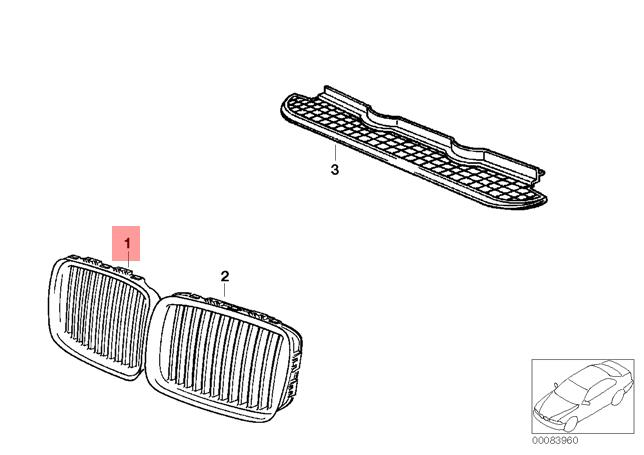 Genuine BMW 3 Series E36 Front Radiator Kidney Grille