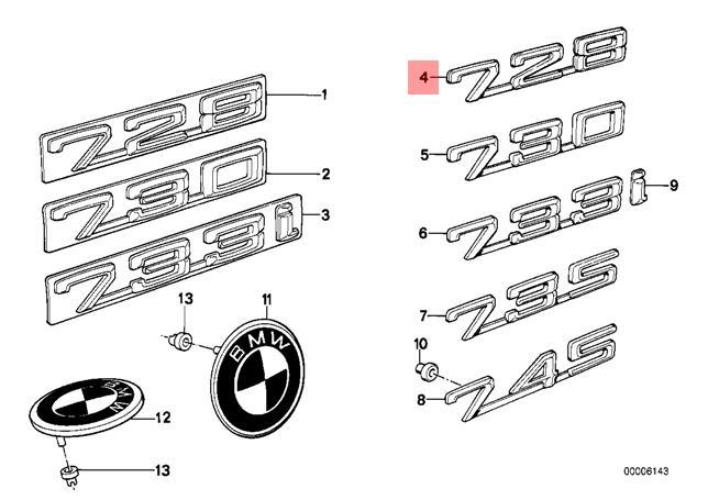 Genuine BMW E23 Rear Trunk Lid 728 Emblem Badge Logo Sign