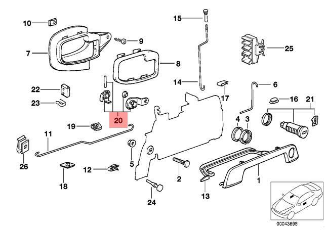 Genuine BMW E34 E36 Door Lock Cylinder Left Repair Kit OEM