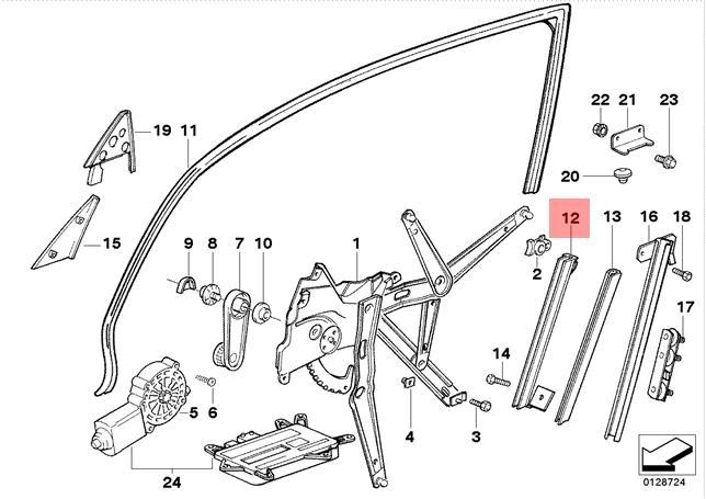 Genuine BMW E36 Compact Window Guide Rail Left OEM