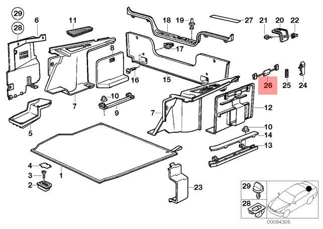 Genuine BMW 3 Series E30 Wagon Trunk Set Lock Repair Kit