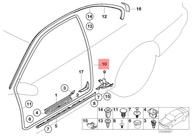 Genuine BMW E46 Coupe Door Frame Weatherstrip Seal Right