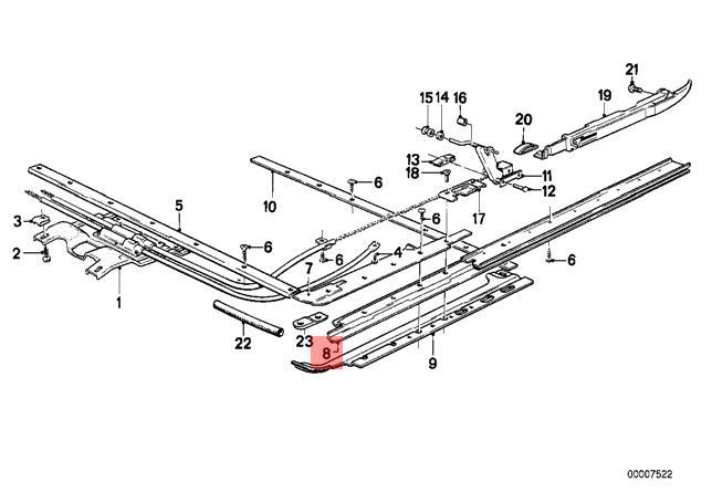 Genuine BMW E12 E21 E23 E28 E30 Sunroof Guide Rail Right