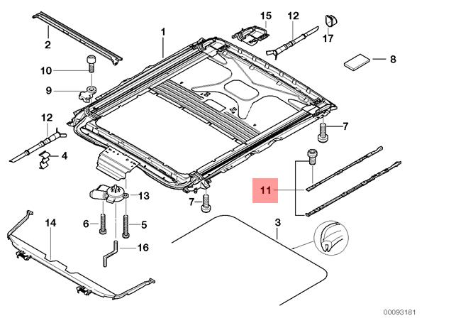Genuine BMW E39 X5 E53 Sunroof Cover Mechanism Repair Kit