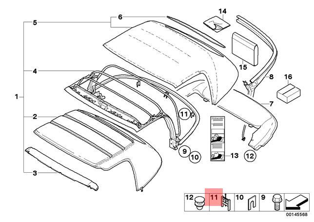 Genuine BMW Z8 E52 Roadster Sliding Roof Fastener Repair